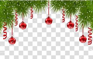 ilustrasi pernak-pernik merah, Cemara hiasan Natal pohon Natal, Dekorasi Pinus Natal dengan Ornamen Merah PNG clipart