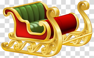 ilustrasi giring salju emas dan merah, rusa Santa Claus Sled, Santa Sleigh png