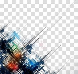 Garis abstrak sederhana garis latar belakang, lukisan abstrak hitam, hijau, dan biru png