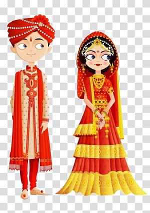 Undangan Pernikahan India Pengantin, Gaun Pengantin Tradisional India, pria dan wanita yang mengenakan karya seni pakaian tradisional PNG clipart