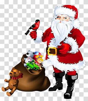 Santa Claus dengan ilustrasi banyak mainan, ornamen Natal Santa Claus, Santa Claus dengan Mainan png
