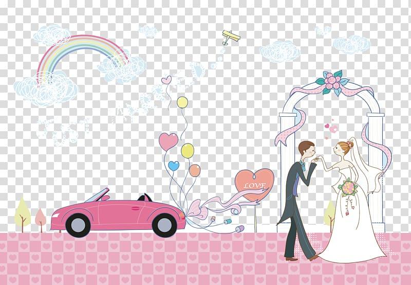 Ilustrasi Just Married, Pernikahan Pernikahan, Kartun pernikahan pasangan mobil pernikahan kreatif berwarna merah muda PNG clipart