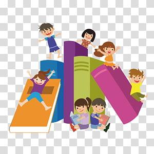 anak-anak bermain di buku, Membaca Buku Anak, buku dan anak-anak png