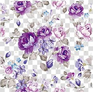 Bunga Desain Bunga Pola Kertas, bahan bunga cat air Ungu, poster bunga ungu, biru, dan abu-abu png