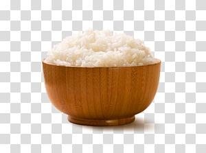 nasi putih di atas mangkok kayu cokelat, nasi Mangkok nasi putih, nasi png