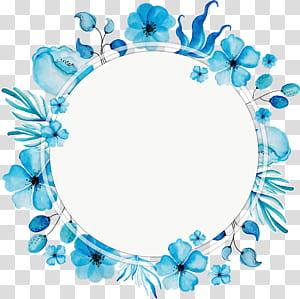 Bunga, kotak judul karangan bunga Cat Air biru, bingkai bunga biru PNG clipart