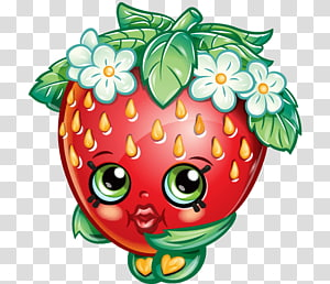 ilustrasi buah stroberi merah dan hijau, shoppies shopkins jessicake strawberry frosting & icing biskuit, strawberry png