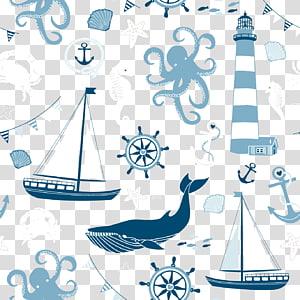 bermacam-macam makhluk laut dan stiker perahu layar, Kapal Kapal Angkutan Maritim Jangkar Laut, Kapal layar ikan Shading png