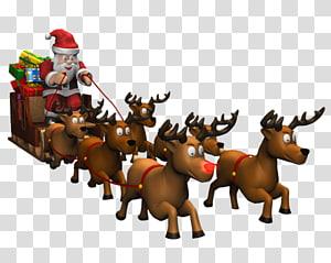 Santa Claus, Reindeer Père Noël Santa Claus Ornamen Natal Kuda, Santa Sleigh png