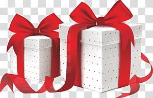 dua kotak hadiah merah-putih, Pita kotak Hias Hias, Hadiah png