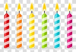 Kue ulang tahun Lilin, Lilin Ulang Tahun, ilustrasi animasi enam tongkat lilin berbagai macam warna png