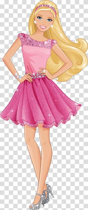 Barbie, Barbie, gadis yang mengenakan ilustrasi mini dress pink png