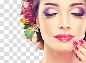 Beauty Parlor Day spa Aestheticetics Hair removal, model makeup Petal, wanita dengan makeup menyentuh dagunya PNG clipart