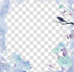 Lukisan cat air Euclidean, batas cat air, burung abu-abu yang bertengger di template bingkai cabang png