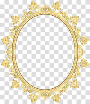 Kacamata bingkai lensa Cahaya, Bingkai Perbatasan Dekoratif Oval, bingkai bunga kuning PNG clipart