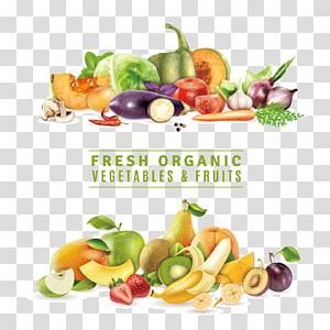 ilustrasi sayuran dan buah-buahan organik segar, Jus makanan Organik Sayuran Buah, Sayuran dan buah-buahan, segar, Distribusi, Alam png