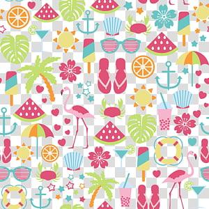 dua ilustrasi flamingo, musim panas PNG clipart