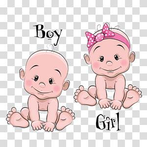 Ilustrasi Kartun Bayi, Kartun bayi laki-laki dan perempuan, seni grafis dua bayi png