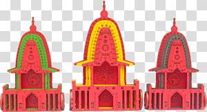 tiga ilustrasi altar kuning, merah, dan hijau, Kuil Jagannath, Puri Ratha Yatra Krishna Ratha-Yatra Subhadra, bahan festival png