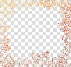 Pola Area Tatakan, Bahan latar belakang bordiran Floral Painted, bingkai bunga cokelat png