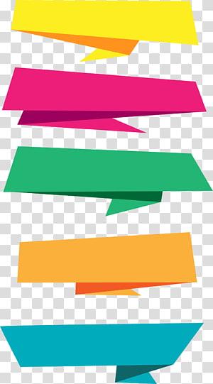 Spanduk Kertas, label origami yang digambar tangan, ilustrasi kertas lima macam warna png