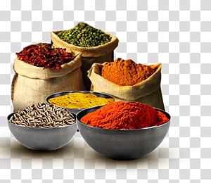 berbagai macam serbuk bermerek dalam karung, masakan India Spice Packaging, dan label makanan Mediterania, rempah-rempah masala png