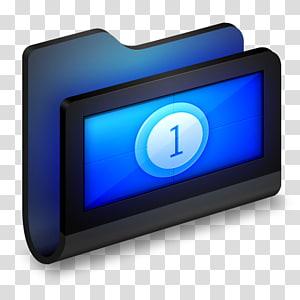 ilustrasi dudukan folder digital hitam, tampilan perangkat multimedia, perangkat keras biru listrik, Film Folder Hitam png