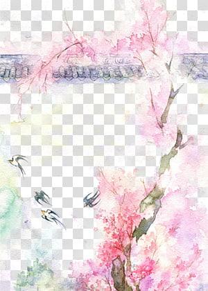 Template latar belakang pohon berbunga merah muda, Menggambar Lukisan Cat Air, Antiquity ilustrasi cat air yang indah png