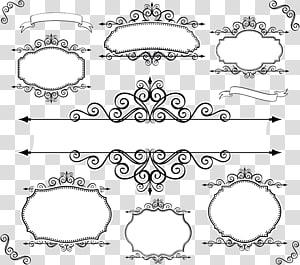 bingkai hitam dan putih, Lace Textile Line, desain label renda vintage Eropa png
