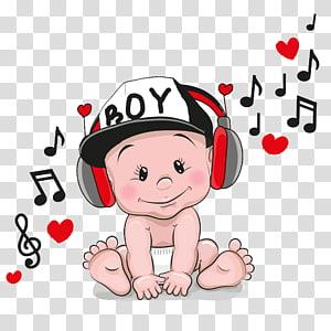 bayi memakai headphone, Kartun Headphone, Bayi musik png