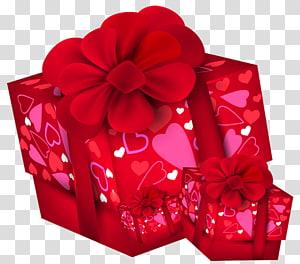 dua kotak hadiah merah, hadiah Natal Hari Valentine, Kotak Hadiah Hari Valentine png