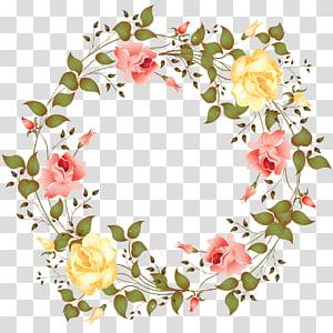Rose frame Bunga, Rose perbatasan, ilustrasi karangan bunga mawar kuning dan pink png