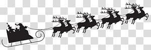 Santa Claus Sled Silhouette Reindeer, Santa with Sleigh Silhouette, ilustrasi Santa Claus png