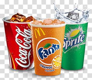 tiga cangkir coca-cola, fanta, dan sprite sekali pakai, minuman bersoda coca-cola sprite fanta shawarma, fanta PNG clipart