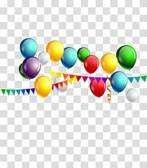 Balon Warna Ulang Tahun, balon meriah dan stiker balon warna-warni png