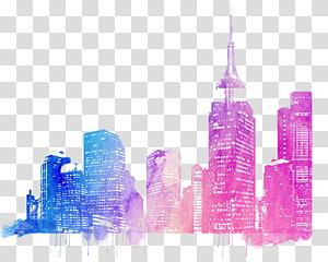 Kota: Gambar Skylines, cakrawala kota berwarna-warni, templat bangunan biru dan merah muda PNG clipart