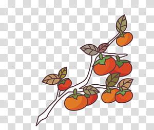 Sikat Lukisan Cat Air Biru, sapuan kuas Biru, buah bulat merah dan oranye di cabang PNG clipart