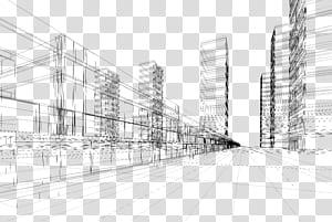 Arsitektur Euclidean, garis perspektif membangun kota kreatif png