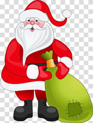 Santa Claus, Santa Claus Natal, Santa Claus dengan Tas Hijau png