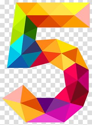 Angka, Segitiga Warna-warni Nomor Lima, kuning, biru, dan ungu 5 huruf PNG clipart
