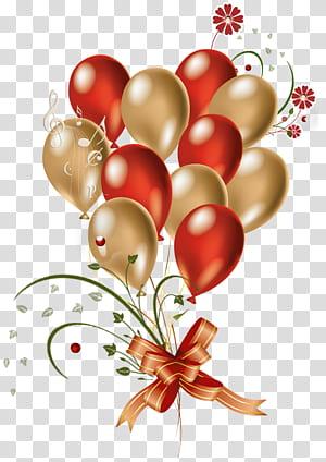 Balon Emas, Balon Merah dan Emas, ilustrasi balon png