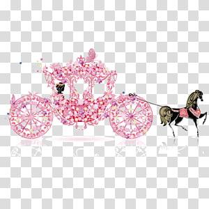 Undangan pernikahan, Carriage Cinderella, My Wedding, carriage, Wedding carriage, silhouette painting of woman in pink floral horse carriage png