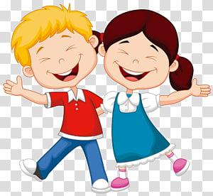 Kartun Ilustrasi Anak, ilustrasi anak laki-laki dan perempuan yang tersenyum png