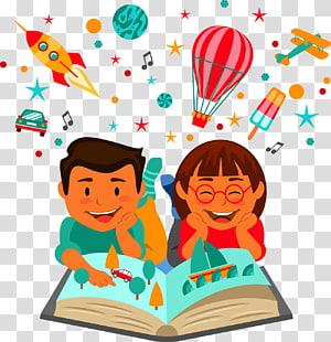 ilustrasi buku bacaan anak laki-laki dan perempuan yang dianimasi, Ilustrasi Pendidikan Pembelajaran Membaca Anak, Membaca anak png