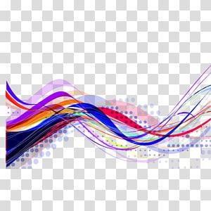 ilustrasi gelombang warna-warni, Seni Garis Abstrak, Garis abstrak PNG clipart