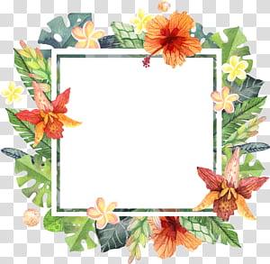 File komputer, Watercolor yang dilukis dengan tangan perbatasan bunga musim panas, bingkai perbatasan bunga hijau dan coklat png