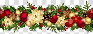 Garland, Christmas Decorative Garland, ilustrasi karangan bunga beraneka warna png