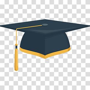 ilustrasi topi akademik hitam dan kuning, tutup Wisuda topi akademik Student Square, topi Akademik png