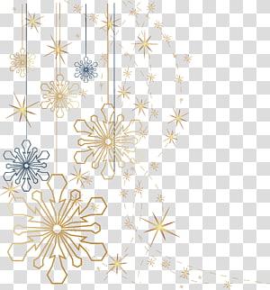 Ilustrasi kepingan salju Natal, kepingan salju, emas dan kepingan salju hitam png