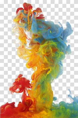 Asap berwarna, asap berwarna, merah, kuning, hijau, dan asap berwarna biru PNG clipart